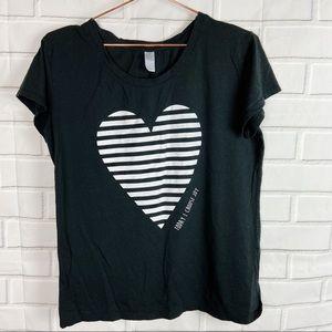 Alternative striped heart choose joy graphic tee L